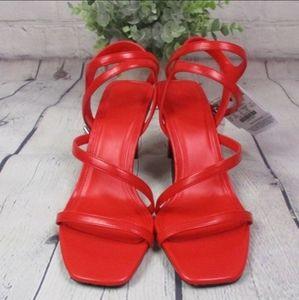 NWT Bershka Fire Engine Red Strappy High Heels